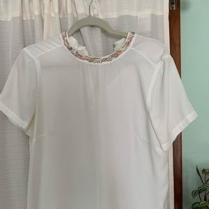 H&M blouse short sleeved white embellishment